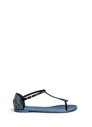 Main View - Click To Enlarge - Giuseppe Zanotti Design - 'Rock' crystal pavé suede thong sandals