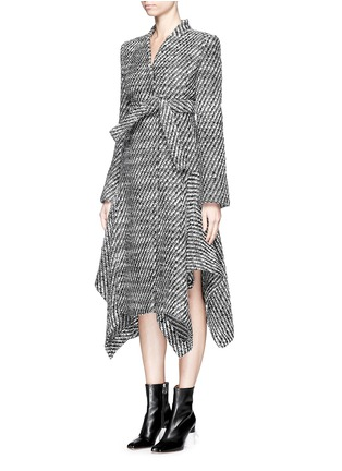 Front View - Click To Enlarge - Stella McCartney - 'Claudine' asymmetric hem tweed coat