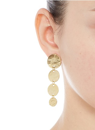 Figure View - Click To Enlarge - Kenneth Jay Lane - Graduating gold plated coin charm drop earrings