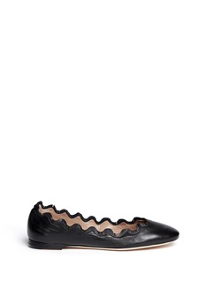 CHLOÉ Fringe scalloped edge leather flats