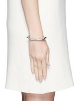 'Handcuff 2' diamond sterling silver hinged bangle