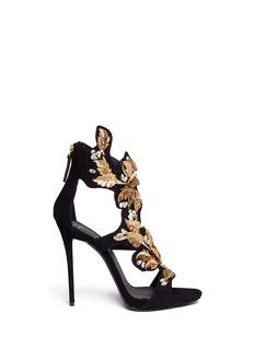 GIUSEPPE ZANOTTI DESIGN'Coline' leaf filigree suede sandals