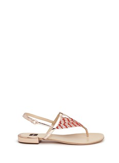 RODO Textured rope mirror leather thong sandals