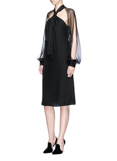 Lanvin Halterneck chiffon and crepe de Chine dress