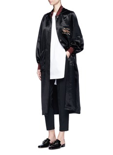 Ms MIN Dragon embroidered hooded long satin coat