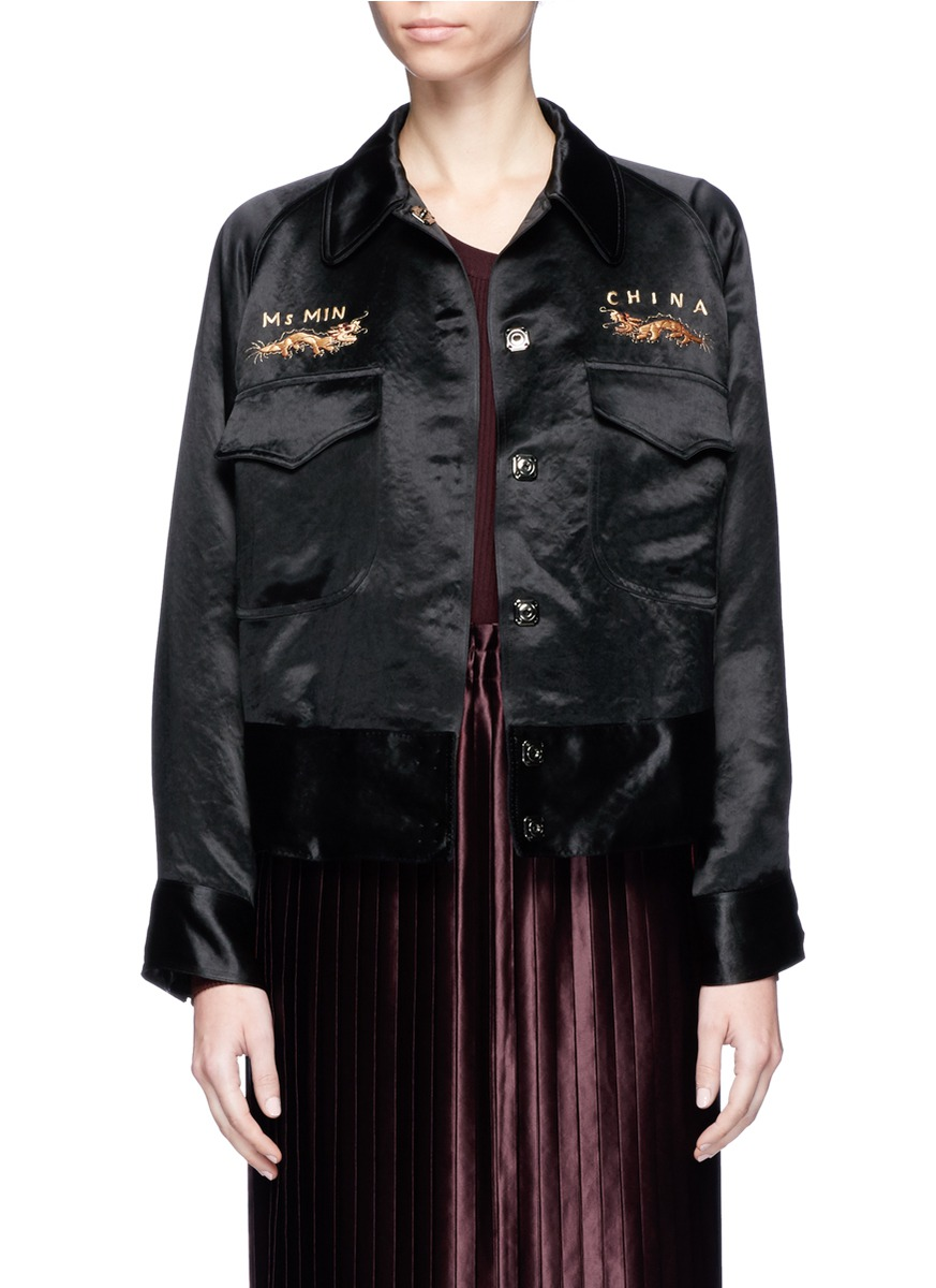 Dragon embroidered satin worker jacket by Ms MIN