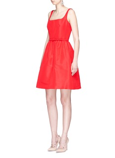 Oscar de la Renta Belted silk faille flared dress