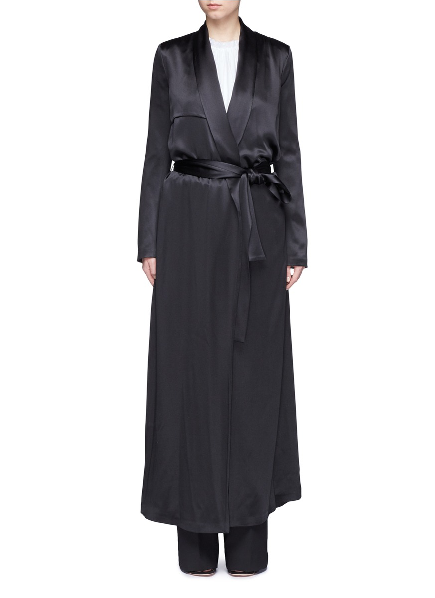 Silk satin belted trench coat by Galvan London