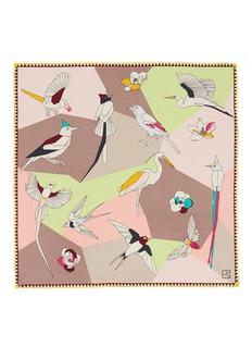 SHANG XIAGeometric bird print silk scarf