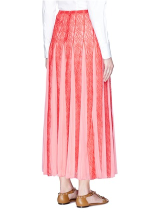 Back View - Click To Enlarge - Valentino - Pleated georgette godet floral lace maxi skirt