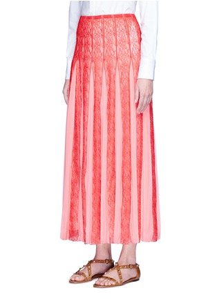 Front View - Click To Enlarge - Valentino - Pleated georgette godet floral lace maxi skirt
