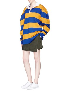 Marc Jacobs Twill collar stripe oversized rugby sweatshirt