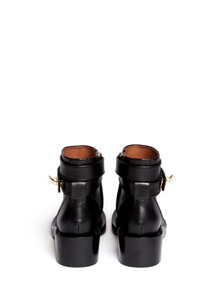 Back View - Click To Enlarge - Givenchy - Shark tooth turn lock ankle strap leather boots
