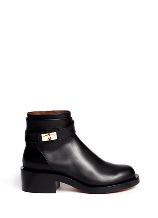 Main View - Click To Enlarge - Givenchy - Shark tooth turn lock ankle strap leather boots
