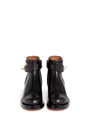 Figure View - Click To Enlarge - Givenchy - Shark tooth turn lock ankle strap leather boots