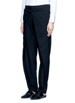 Front wrap wool unisex pants