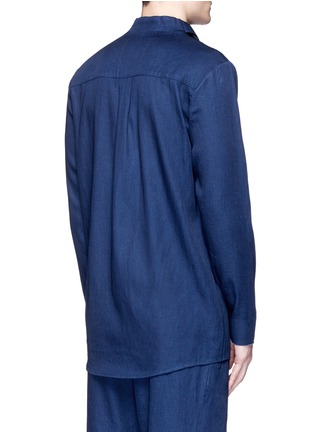 Back View - Click To Enlarge - FFIXXED STUDIOS - Knot collar cotton-tencel unisex shirt