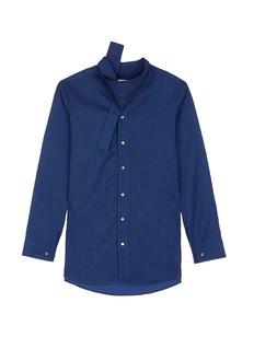 FFIXXED STUDIOSKnot collar cotton-tencel unisex shirt