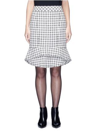 首图 - 点击放大 - ALEXANDER WANG  - 鱼尾裙摆格纹混棉半身裙