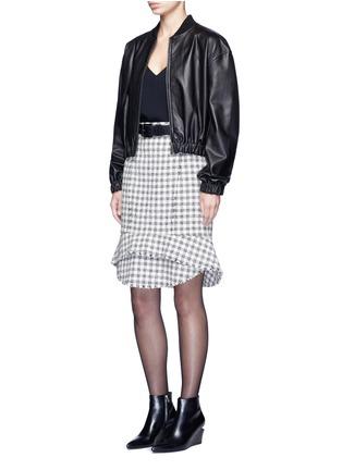 模特儿示范图 - 点击放大 - ALEXANDER WANG  - 鱼尾裙摆格纹混棉半身裙