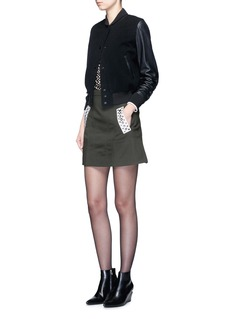 Alexander Wang  Metal eyelet leather trim twill skirt