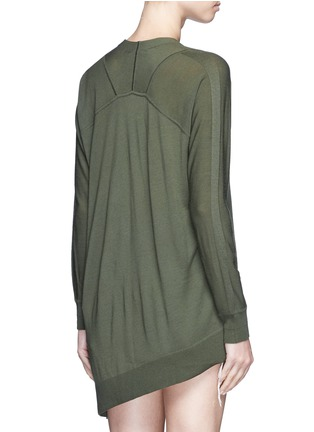 Back View - Click To Enlarge - Alexander Wang  - Asymmetric dipped hem Merino wool cardigan