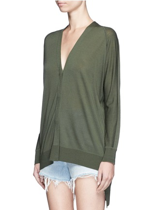 Front View - Click To Enlarge - Alexander Wang  - Asymmetric dipped hem Merino wool cardigan