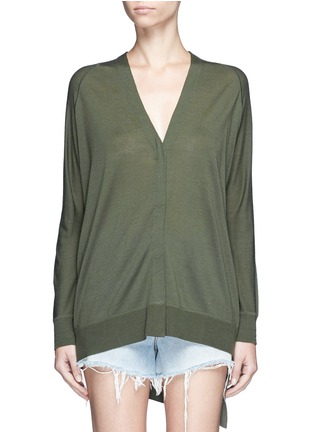 Main View - Click To Enlarge - Alexander Wang  - Asymmetric dipped hem Merino wool cardigan