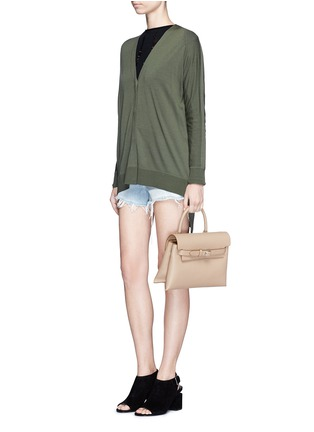 Figure View - Click To Enlarge - Alexander Wang  - Asymmetric dipped hem Merino wool cardigan