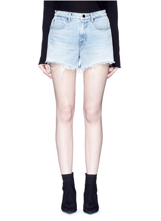 Detail View - Click To Enlarge - Alexander Wang  - 'Bite' frayed cuff denim shorts