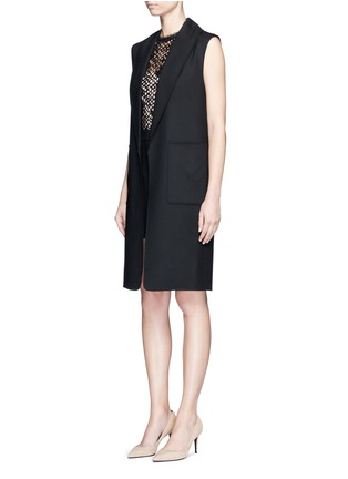 Front View - Click To Enlarge - Alexander Wang  - Shawl lapel long virgin wool vest