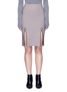 Alexander Wang Keyhole split houndstooth knit pencil skirt