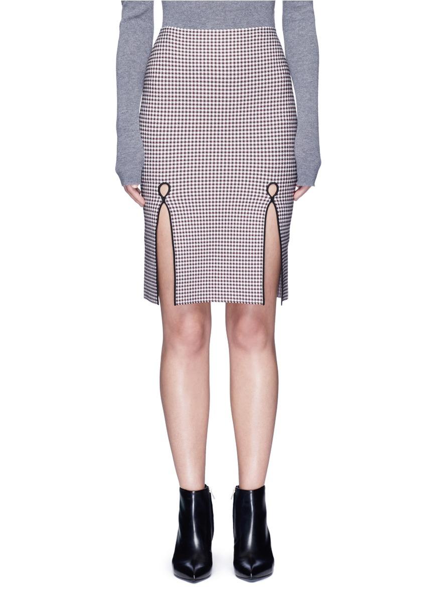 alexander wang female  keyhole split houndstooth knit pencil skirt