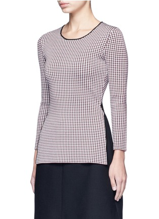 Front View - Click To Enlarge - Alexander Wang  - Keyhole split houndstooth knit top