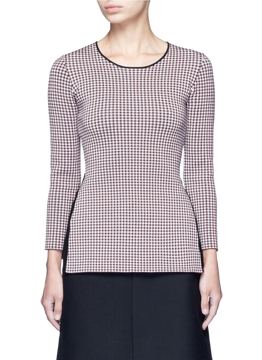 alexander wang female  keyhole split houndstooth knit top