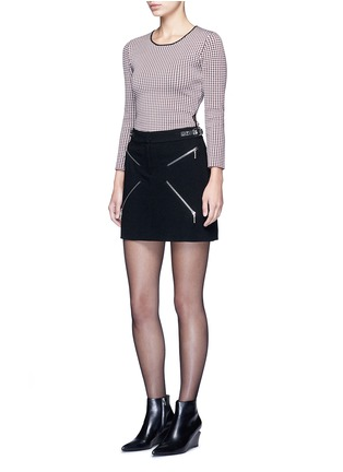 Figure View - Click To Enlarge - Alexander Wang  - Keyhole split houndstooth knit top