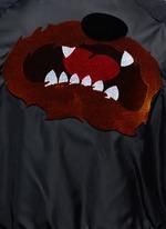 Flocked animal print panelled bomber jacket