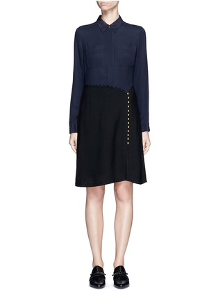 Main View - Click To Enlarge - 3.1 Phillip Lim - Crepe hopsack combo button shirt dress