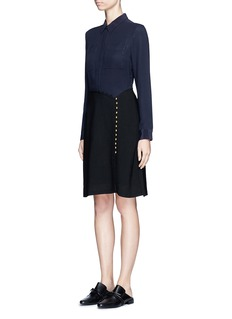 3.1 Phillip Lim Crepe hopsack combo button shirt dress