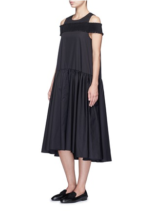 Figure View - Click To Enlarge - Tibi - Smocked cold-shoulder satin poplin midi dress