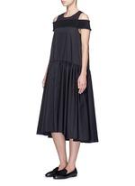 Smocked cold-shoulder satin poplin midi dress