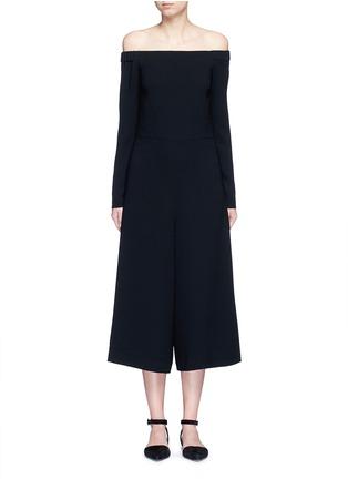 Tibi-Off-shoulder crepe culotte jumpsuit