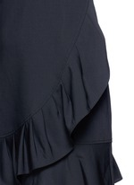 Pleated ruffle tropical wool dress