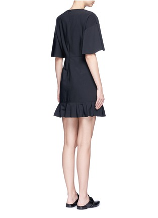 Back View - Click To Enlarge - Tibi - Pleated ruffle tropical wool dress