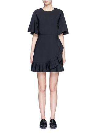 Tibi-Pleated ruffle tropical wool dress