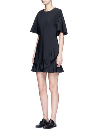 Figure View - Click To Enlarge - Tibi - Pleated ruffle tropical wool dress