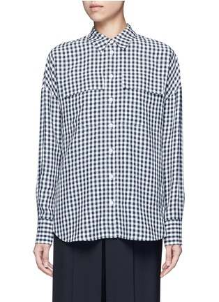 Main View - Click To Enlarge - Tibi - Gingham check print button utility blouse