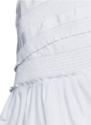 Detail View - Click To Enlarge - Tibi - Pinstripe poplin smocking sleeveless top