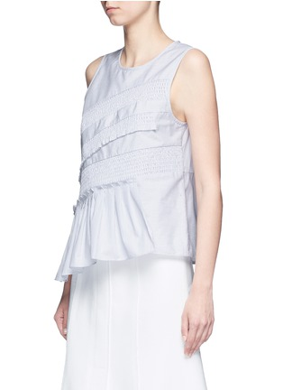 Front View - Click To Enlarge - Tibi - Pinstripe poplin smocking sleeveless top