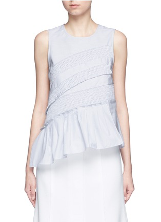 Main View - Click To Enlarge - Tibi - Pinstripe poplin smocking sleeveless top